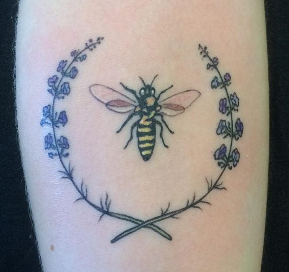 Bee With Lavender Tattoos