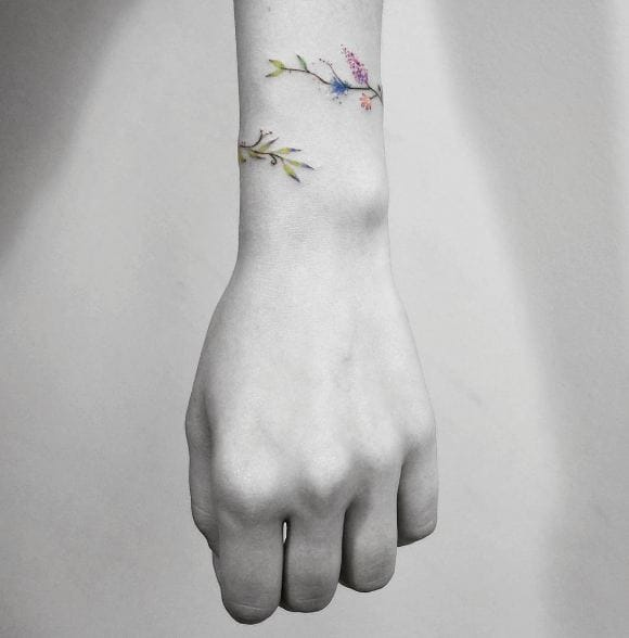 Cool Lavender Wrist Band Tattoos