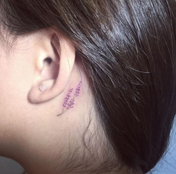Lavender Tattoos On Behind Ear