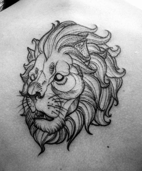 African Lion Tattoos Design On Back Side