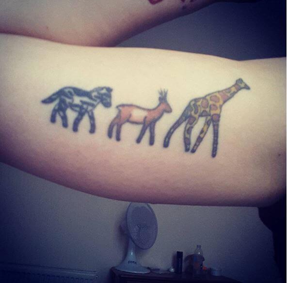 African Wild Animal Tattoos On Biceps