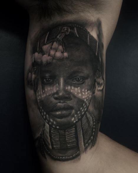 African Women Face Tattoos Design