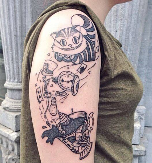 Alice In Wonderland Cheshire Cat Tattoos