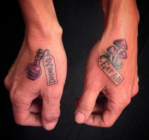 Alice In Wonderland Tattoos On Hand