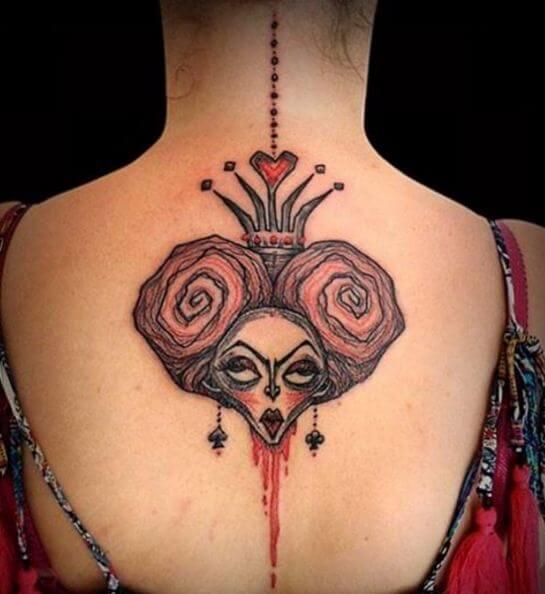 Alice In Wonderland Tattoos On Neck Back
