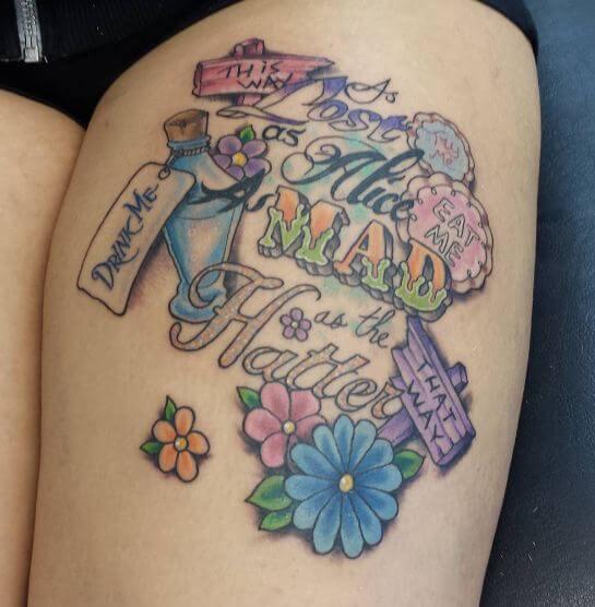 Alice In Wonderland Tattoos On Thigh