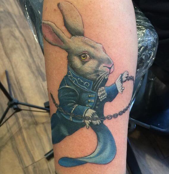 Alice In Wonderland White Rabbit Tattoos