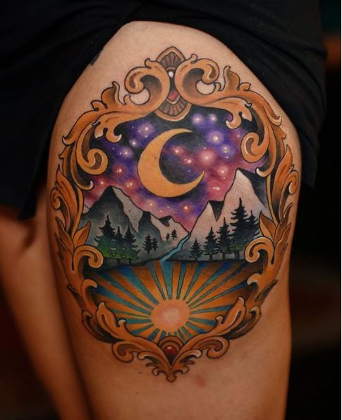 Amazing Landscape Tattoos Design On Thigh