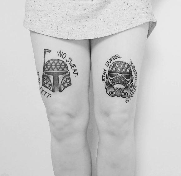 Beautiful Star Wars Tattoos Design On Girls Thigh