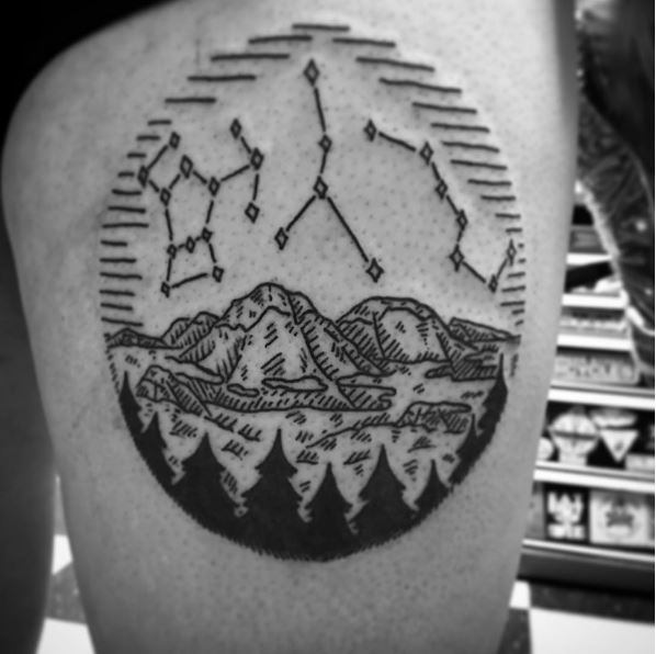 Black Work Landscape Tattoos Design