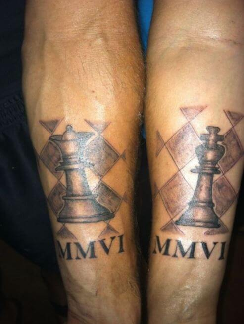 Chess Piece King And Queen Tattoo