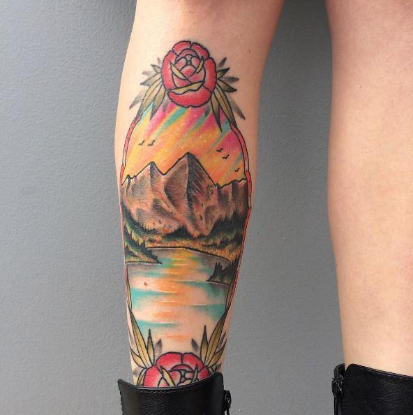 Colored Landscape Tattoos Design On Leg