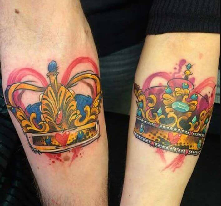 Colorful King And Queen Crown Tattoos