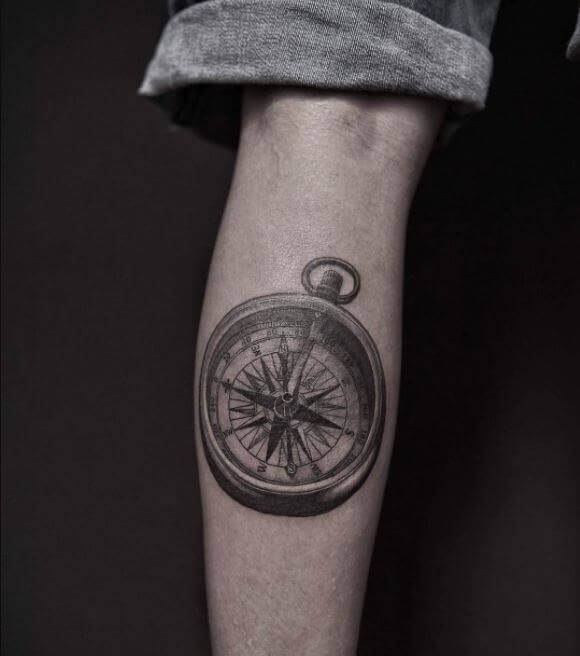 Compass Calf Tattoos