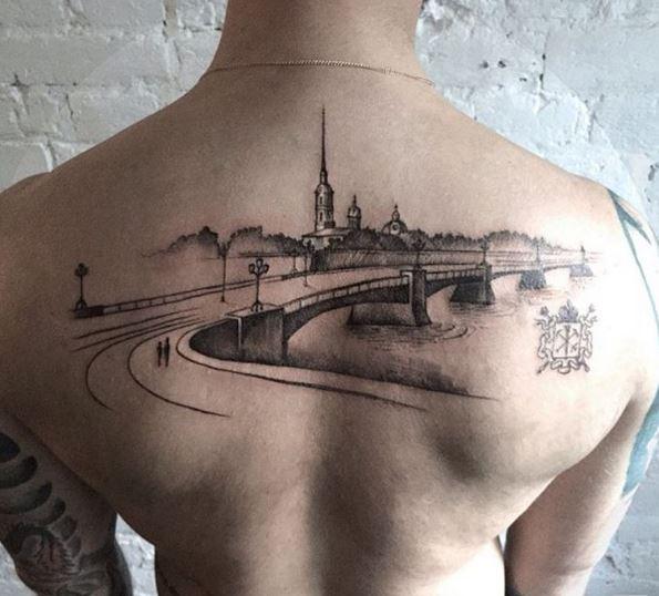 Full Back Landscpe Tattoos Design For Men