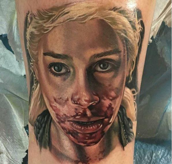 Game Of Thrones Zombie Tattoos Design On Legs