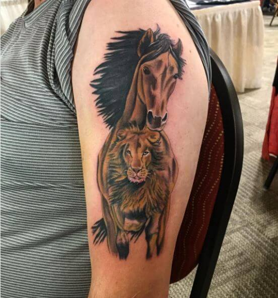 Horse And Lion Tattoo Design On Arms