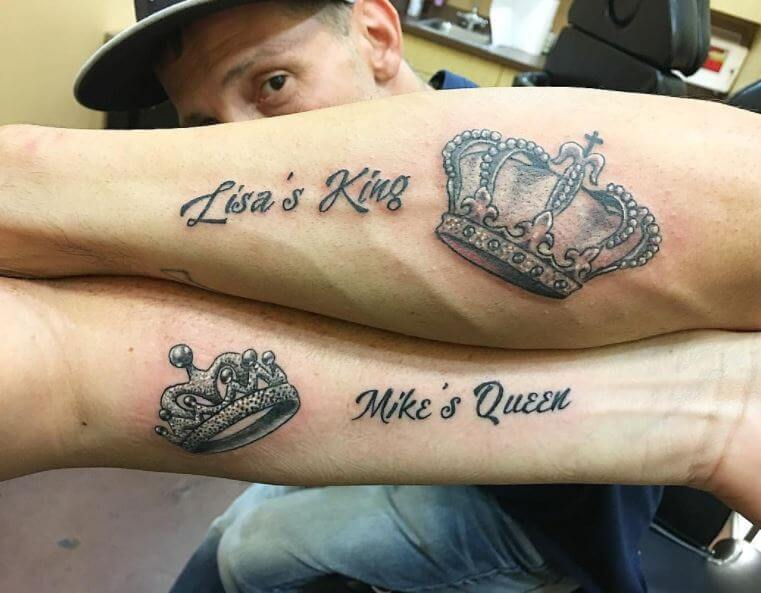 King And Queen Crown Forearm Tattoos