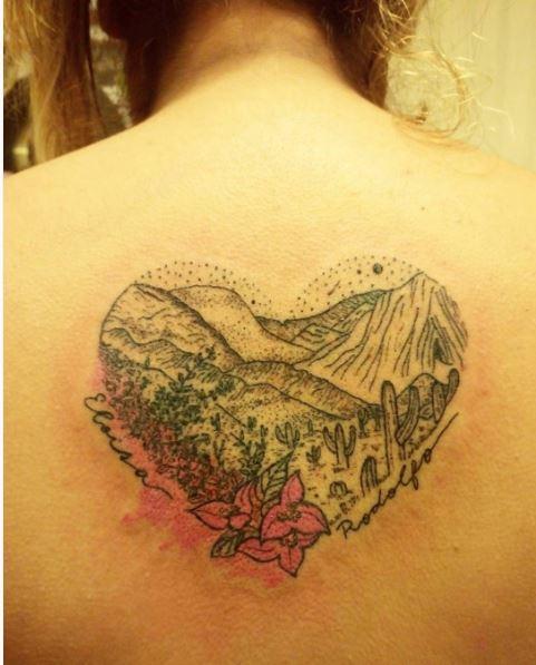 Landscape Tattoos Design On Backside