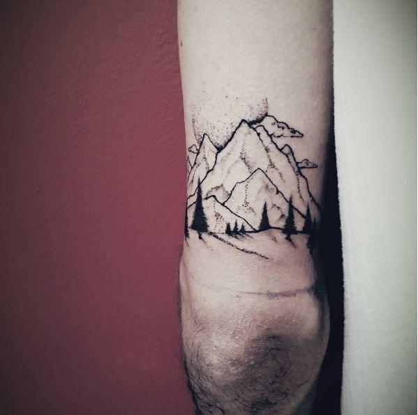 Landscape Tattoos Design On Behind Arm