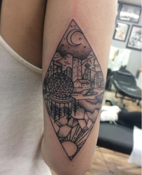 Landscape Tattoos Design On Biceps