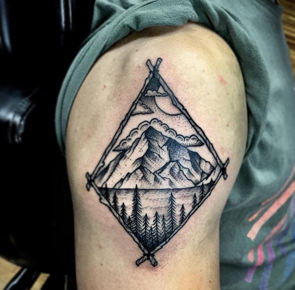Landscape Tattoos Design On Shoulder