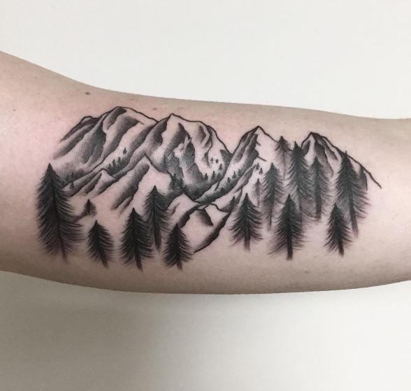 Mountain Tattoos Design On Biceps