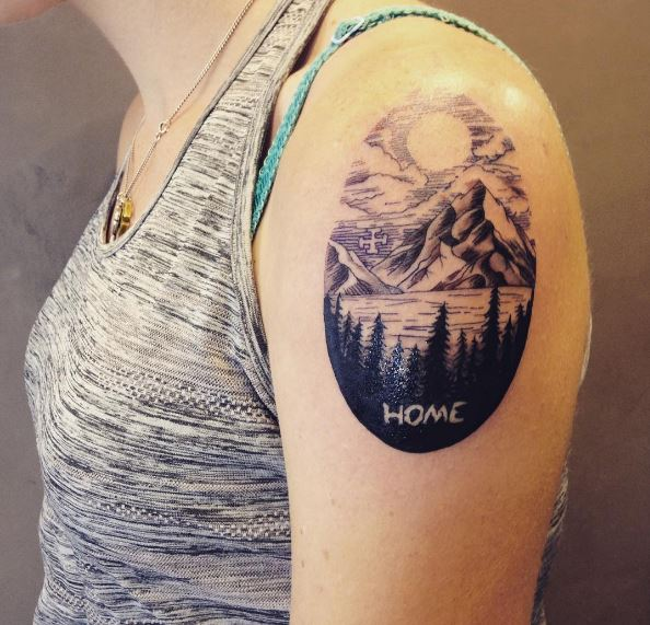 Mountain And Forest Tattoos Design On Biceps