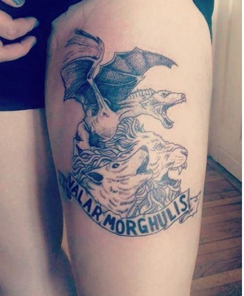 New Game Of Thrones Tattoos Design On Thigh