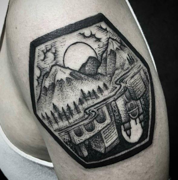 Nice Landscape Tattoos Design For Men