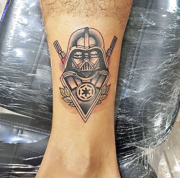 Nice Star Wars Tattoos Design On Legs