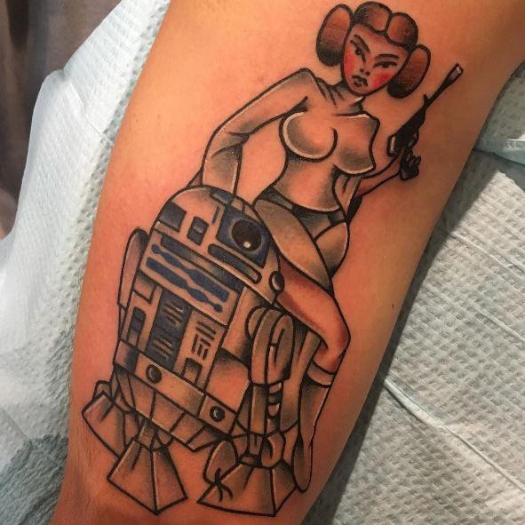 Princess Leia Star Wars Tattoos Design With R2 D2 Robot