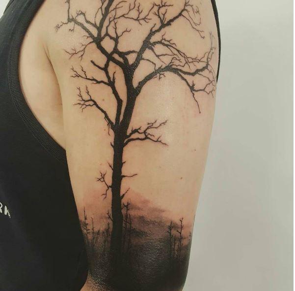 Scary Landscape Tattoos Design For Men