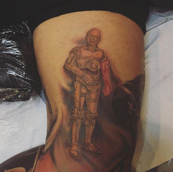 Star Wars C 3PO Robot Tattoos Design On Biceps