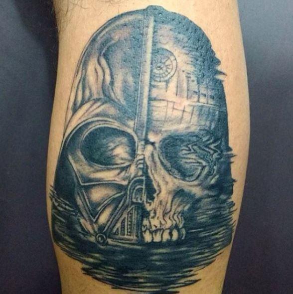 Star Wars Darth Vader And Skull Tattoo Design