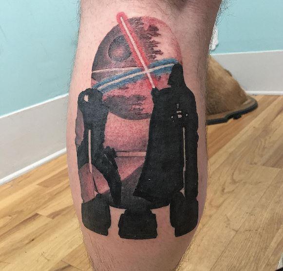Star Wars Lighting Tattoos Design On Legs