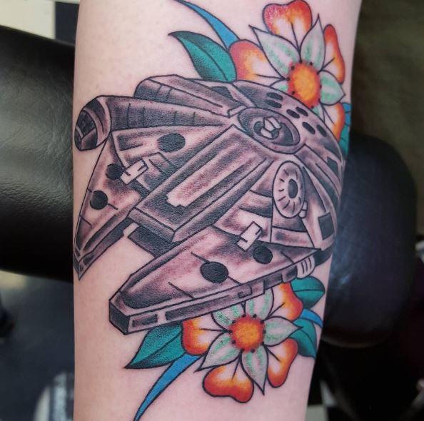 Star Wars Spaceship Tattoo Design For Boy