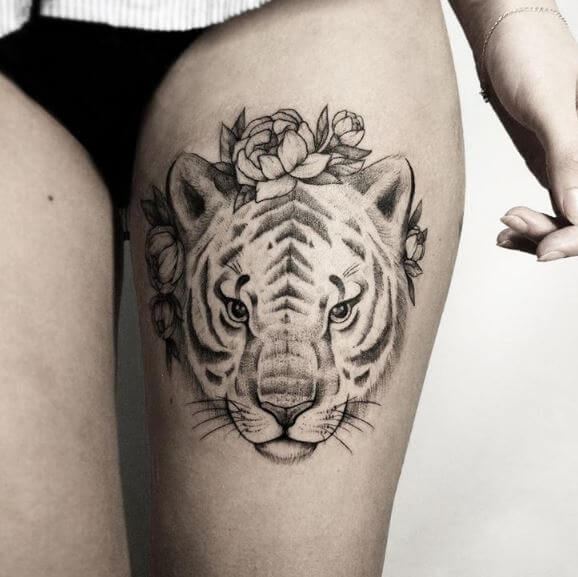 Tiger Tattoo On Leg 1