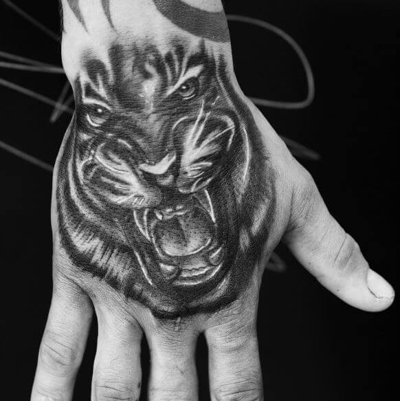 Tiger Tattooon Hand