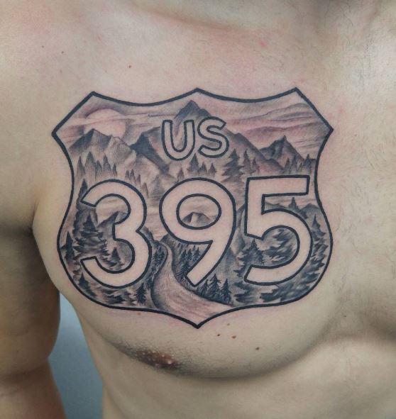 USA 395 Symbol Landscape Tattoos Design On Chest
