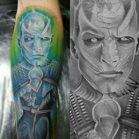 White Color Walker Tattoos Design On Hands