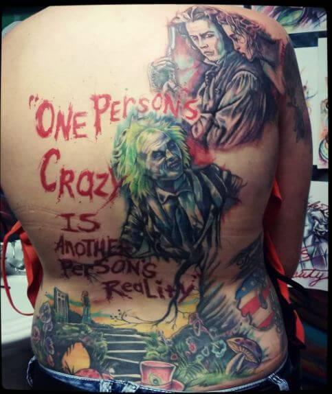 Alice In Wonderland Full Back Tattoos