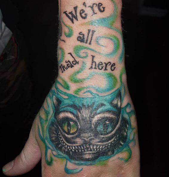 Alice In Wonderland Girl Hand Tattoos