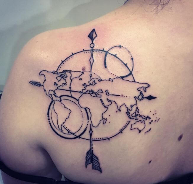 Arrow With World Map Tattoos