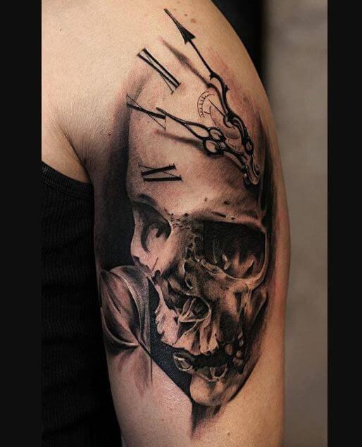 Bicep Skull Tattoo