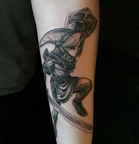 Black And Grey Zelda Tattoos