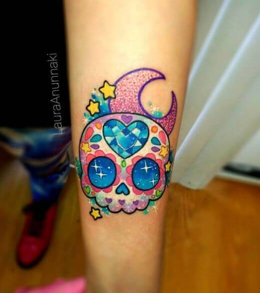 Colorful Sugar Skull Tattoo