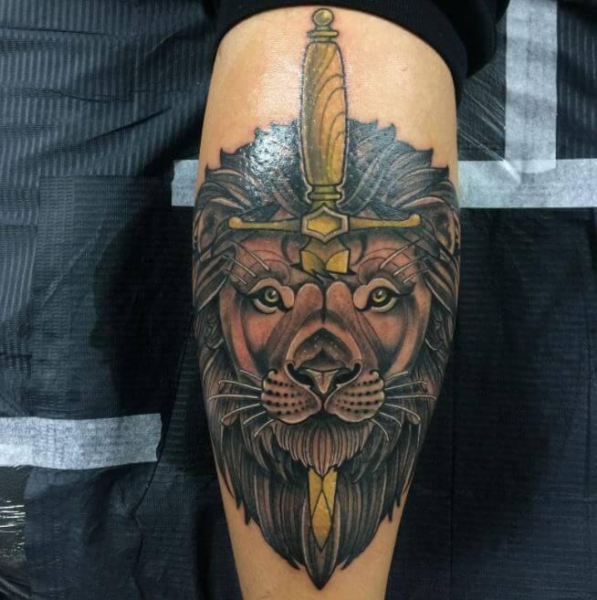 Cross Tattoos On Calf