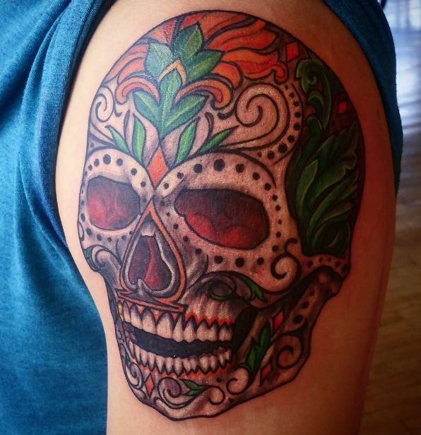 Day Of The Dead Skull Tattoos