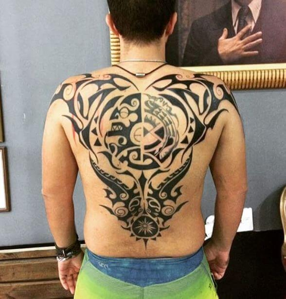 Full Back Maori Tattoos For Men